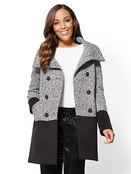 Colorblock Peacoat - Black & White - New York & Company
