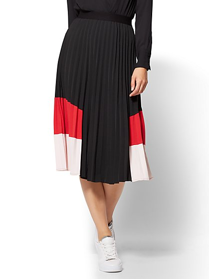 Colorblock Pleated Skirt  - New York & Company