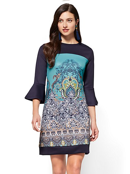 Colorblock Sheath Dress - Medallion Print - New York & Company