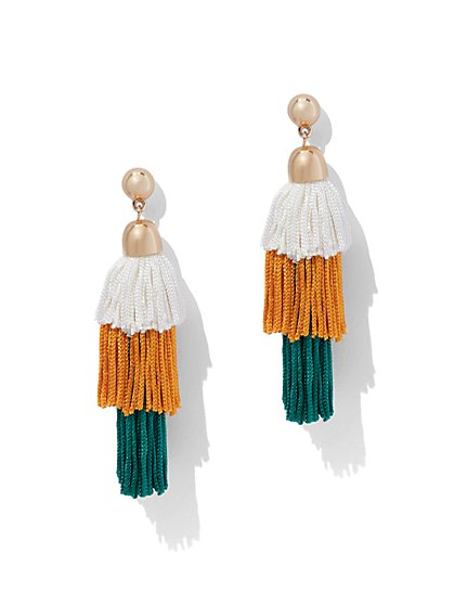 Colorblock Tiered Fringe Earring - New York & Company