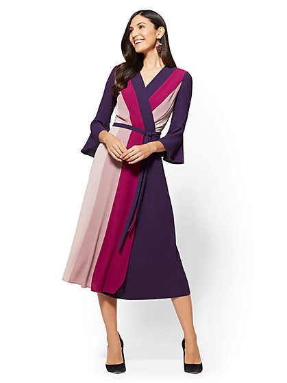 Colorblock Wrap Dress - New York & Company