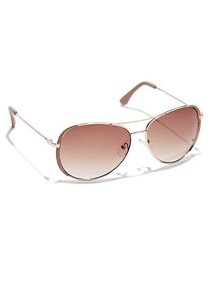 Colored-Rim Aviator Sunglasses - New York & Company