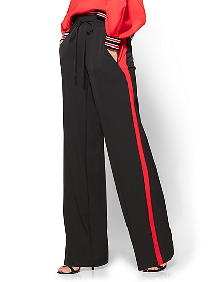 Contrast-Stripe Drawstring-Tie Pant - Black   - New York & Company