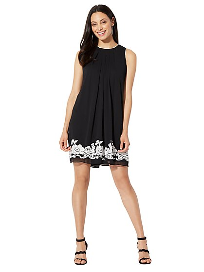 Contrast-Trim Shift Dress - New York & Company