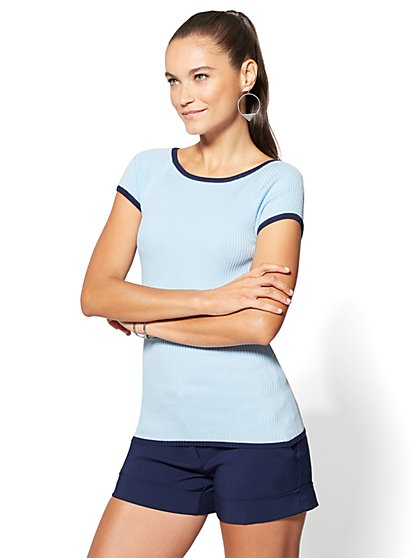 Contrast-Trim Short-Sleeve Sweater - New York & Company