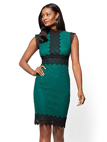 Contrasting Lace Sheath Dress - New York & Company