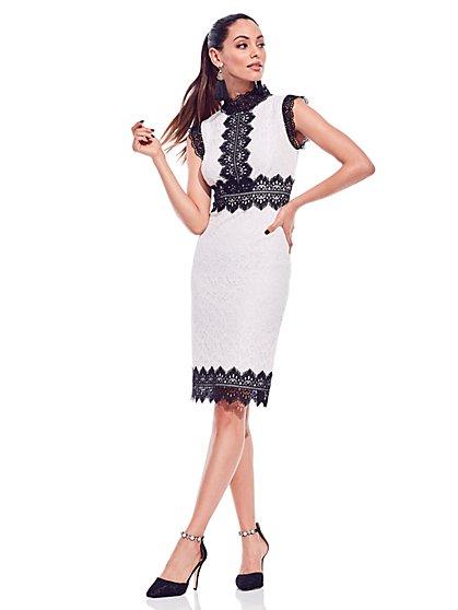 Contrasting Lace Sheath Dress - New York & Company