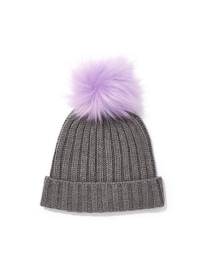 Contrasting Pom-Pom Knit Hat - New York & Company