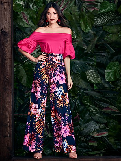 Corset Lace-Up Palazzo Pant - Floral - New York & Company