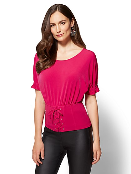 Corset-Waist Dolman Top - New York & Company