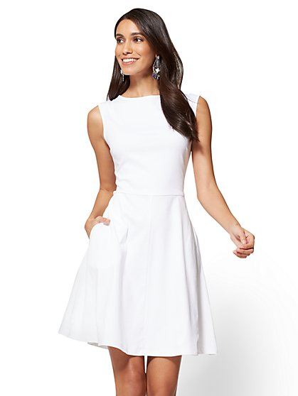Cotton Bateau-Neck Fit & Flare Dress - Petite - New York & Company