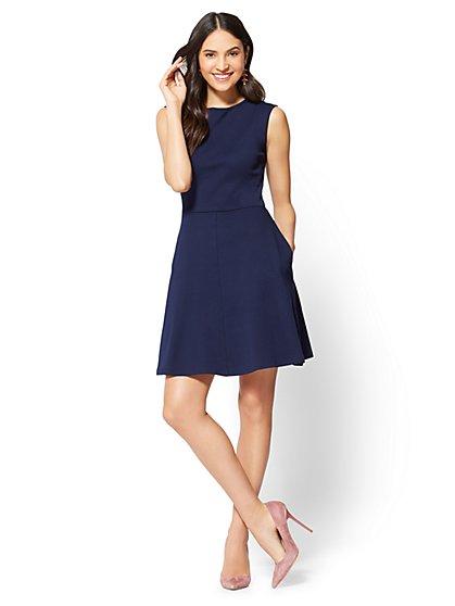Cotton Bateau-Neck Fit & Flare Dress - Petite - New York & Company