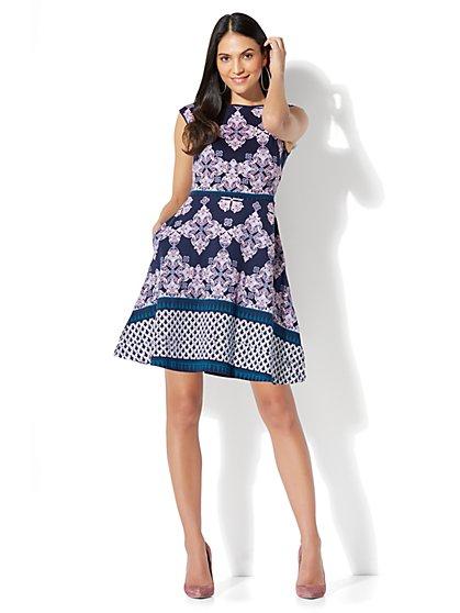 Cotton Bateau-Neck Fit & Flare Dress - Print - Petite - New York & Company