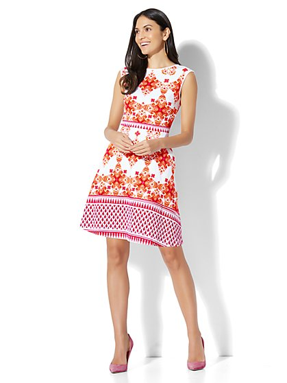 Cotton Bateau-Neck Fit & Flare Dress - Print - New York & Company