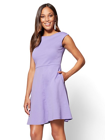 Cotton Bateau-Neck Fit & Flare Dress - Tall - New York & Company
