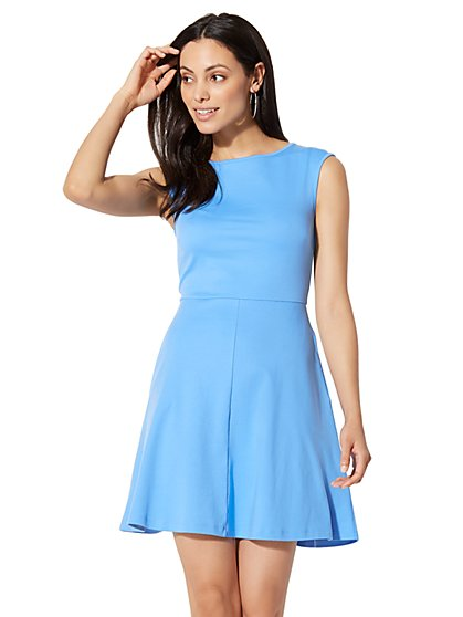 Cotton Bateau-Neck Fit & Flare Dress - New York & Company