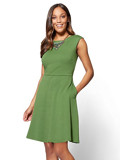 Cotton Bateau-Neck Fit & Flare Dress - New York & Company