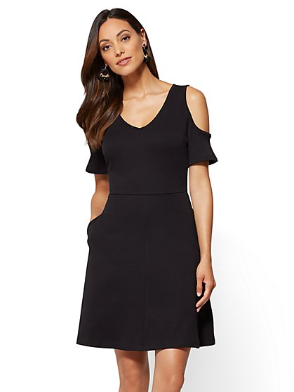 Cotton Cold Shoulder Fit & Flare Dress - New York & Company