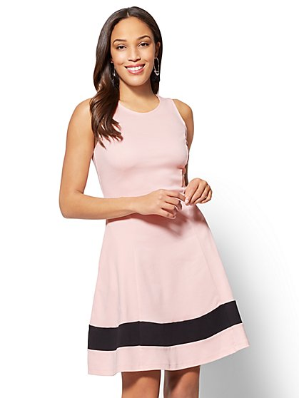 Cotton Colorblock Sleeveless Fit & Flare Dress - New York & Company