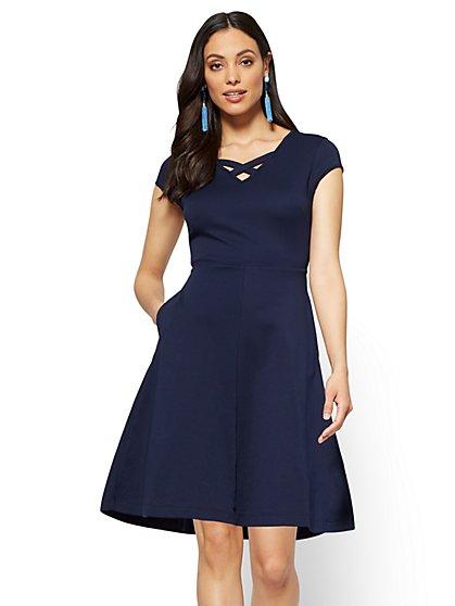 Cotton Crisscross V-neck Fit & Flare Dress - New York & Company