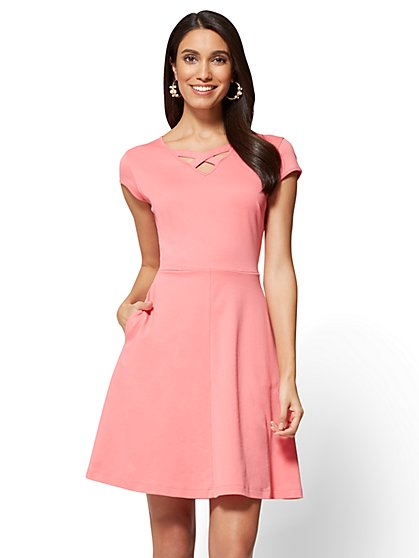 Cotton Crisscross V-neck Fit & Flare Dress - New York & Company
