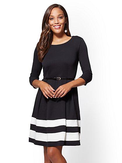Cotton Flare Dress - Colorblock - New York & Company