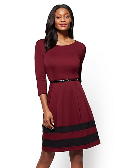 Cotton Flare  Dress - Colorblock - New York & Company