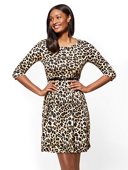 Cotton Flare Dress - Leopard Print - New York & Company