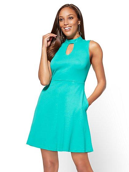 Cotton Halter Fit & Flare Dress - New York & Company