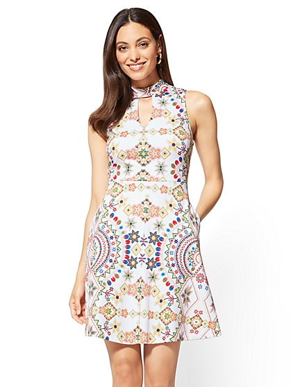 Cotton Halter Fit and Flare Dress - Print - New York & Company