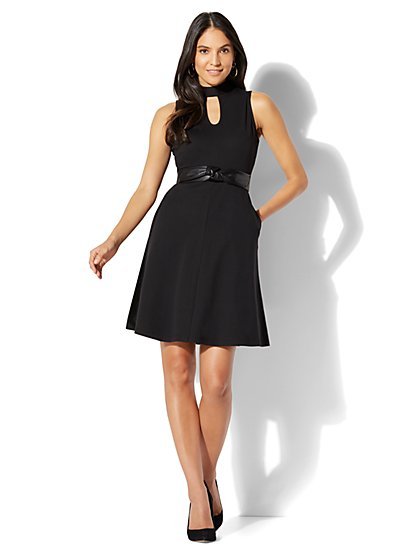 Cotton Halter Fit and Flare Dress - New York & Company