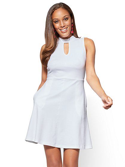 Cotton Interlock Halter Dress - Petite - New York & Company
