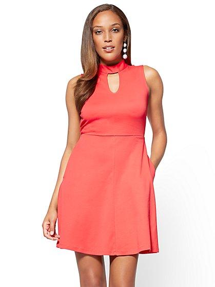 Cotton Interlock Halter Dress - Tall - New York & Company