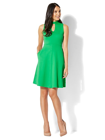 Cotton Interlock Halter Dress - New York & Company