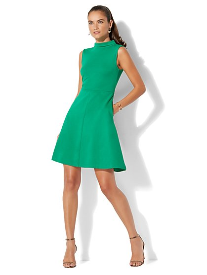 Cotton Mock-Neck Fit & Flare Dress - New York & Company