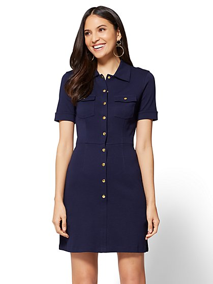 Cotton Shirtdress - Solid - Petite - New York & Company