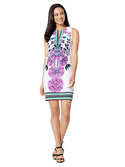 Cotton Split-Neck Shift Dress - Print - Petite - New York & Company