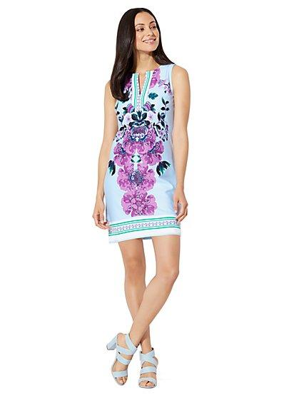 Cotton Split-Neck Shift Dress - Print - Tall - New York & Company