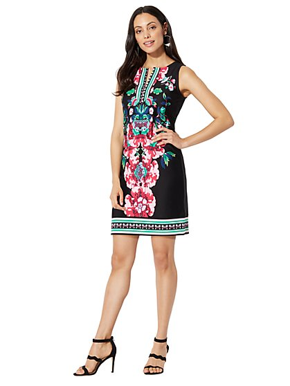 Cotton Split-Neck Shift Dress - Print - New York & Company