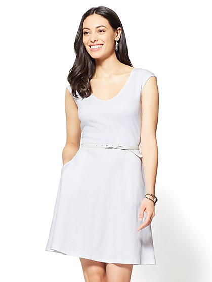 Cotton V-Neck Pocket Fit & Flare Dress - Petite - New York & Company