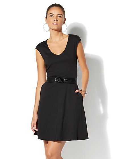 Cotton V-Neck Pocket Fit & Flare Dress - New York & Company