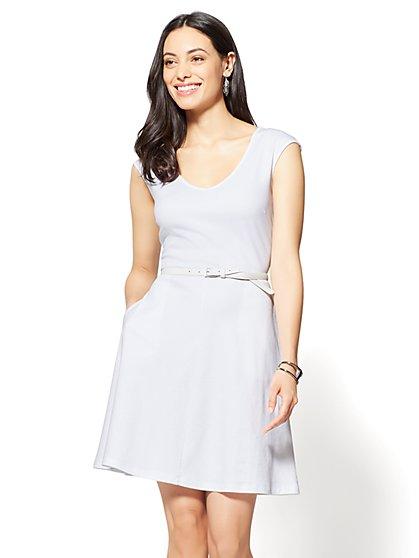 Cotton V-Neck Pocket Fit & Flare Dress - New York & Company