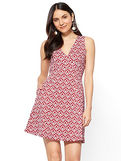 Cotton Wrap-Front Fit & Flare Dress - Graphic Print - New York & Company
