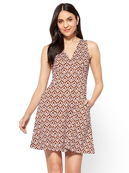 Cotton Wrap-Front Fit and Flare Dress - Graphic Print - New York & Company