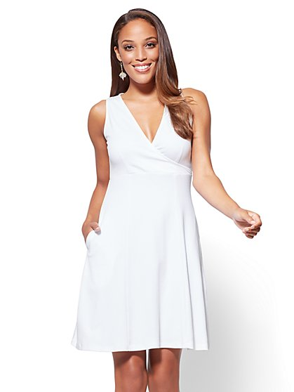 Cotton Wrap-Front Fit and Flare Dress - New York & Company