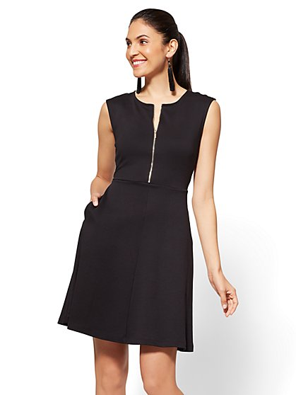 Cotton Zip-Front Fit and Flare Dress - New York & Company