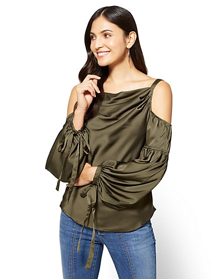 Cowl-Neck Cold-Shoulder Blouse - Olive  - New York & Company