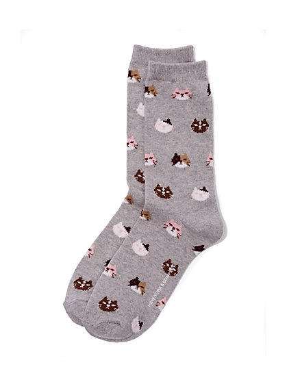 Crew Sock - Cat Print  - New York & Company