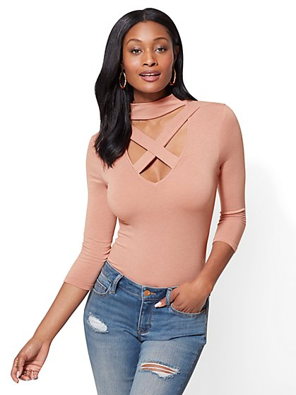 Criss-Cross Bodysuit - New York & Company