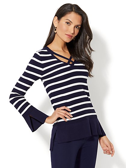 Criss-Cross Front Sweater - Stripe - New York & Company